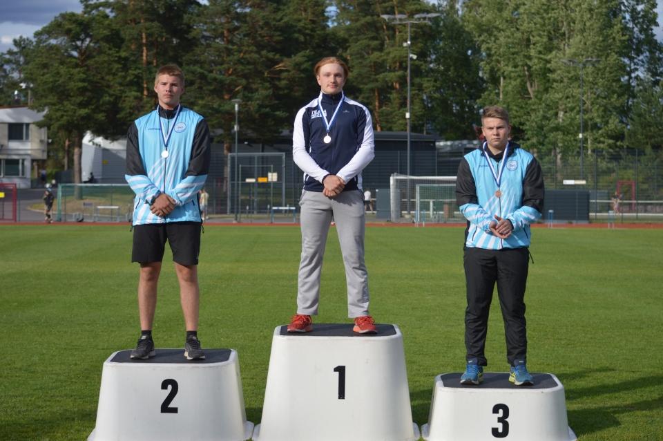 Oskari Lahtinen voitti moukarinheiton Nuorten Eliittikisoissa Vantaan Hiekkaharjussa 2018