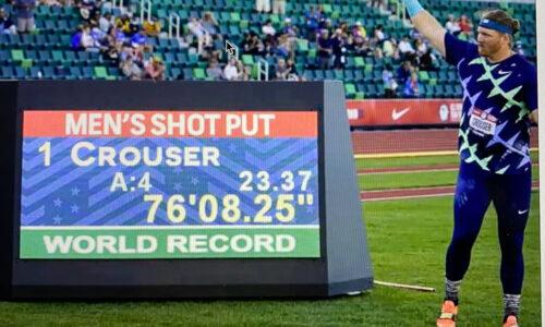 """Crouser ME-työnnöstä: """"Iso taakka putosi harteiltani"""" – Richardson 10,84 – Allman heitti 70,01"""